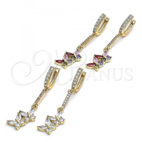 Gold Layered Long Earring, Butterfly Design, with Cubic Zirconia, Golden Tone