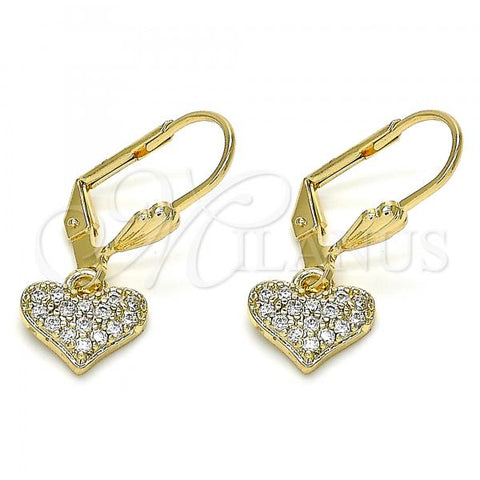 Gold Layered 02.210.0345 Dangle Earring, Heart Design, with White Micro Pave, Polished Finish, Golden Tone