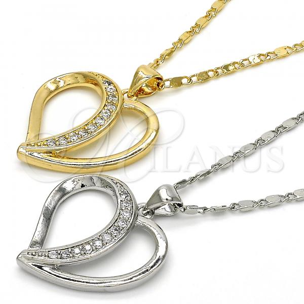 Gold Layered Pendant Necklace, Heart Design, with Cubic Zirconia, Golden Tone