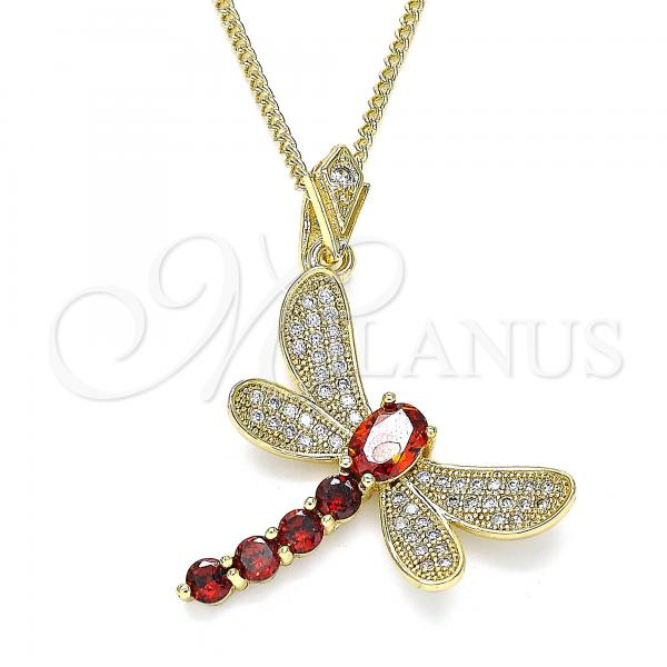 Gold Layered 04.283.0001.2.20 Pendant Necklace, Dragon-Fly Design, with Garnet Cubic Zirconia and White Micro Pave, Polished Finish, Golden Tone