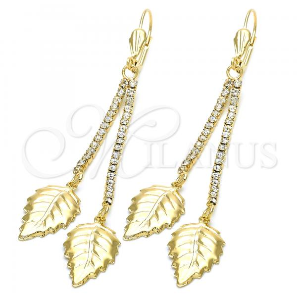 Gold Layered 5.081.004 Long Earring, Leaf Design, with White Cubic Zirconia, Polished Finish, Golden Tone