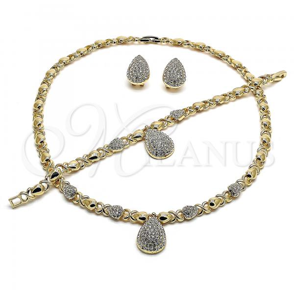 Gold Layered 06.372.0008 Necklace, Bracelet and Earring, Teardrop and Hugs and Kisses Design, with White Crystal, Polished Finish, Golden Tone
