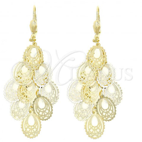 Gold Layered 5.109.006 Chandelier Earring, Filigree and Teardrop Design, Polished Finish, Golden Tone