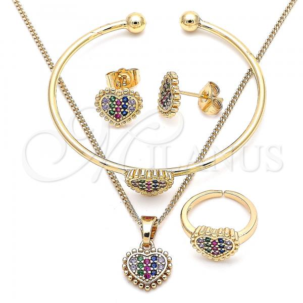 Gold Layered 06.210.0022.1 Earring and Pendant Children Set, Heart Design, with Multicolor Micro Pave, Polished Finish, Golden Tone