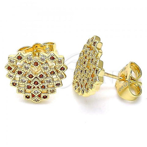 Gold Layered 02.156.0510.1 Stud Earring, Heart Design, with Garnet and White Micro Pave, Polished Finish, Golden Tone