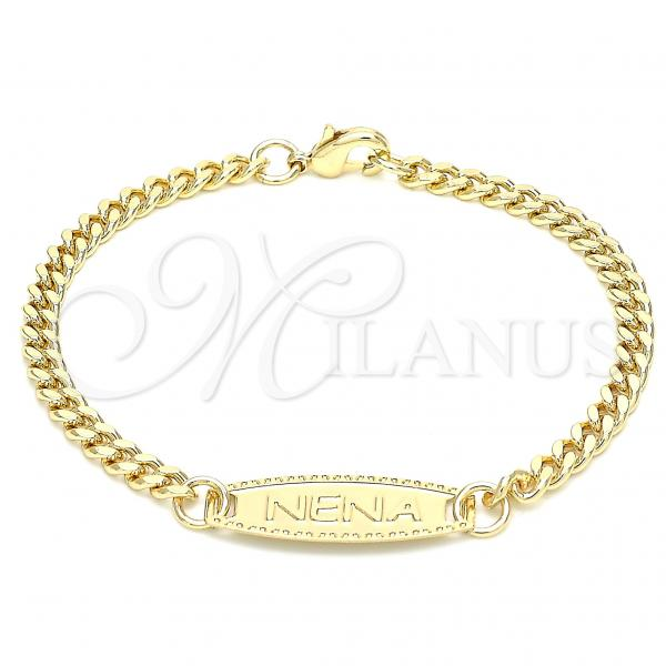 Gold Layered 03.63.2158.06 ID Bracelet, Miami Cuban Design, Polished Finish, Golden Tone