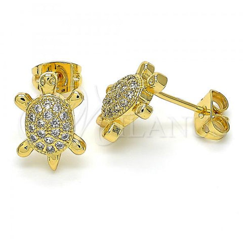 Gold Layered 02.342.0062 Stud Earring, Turtle Design, with White Cubic Zirconia, Polished Finish, Golden Tone