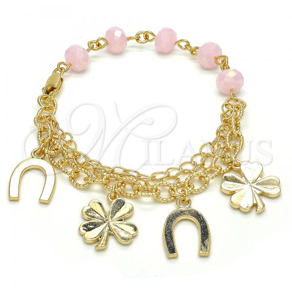 Gold Layered 03.179.0037.07 Charm Bracelet, Pink Resin Finish, Golden Tone