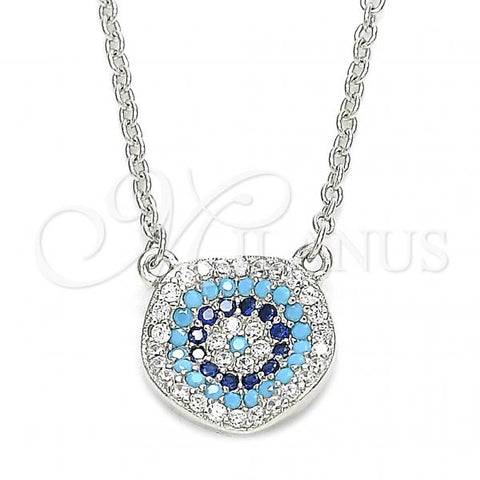 Sterling Silver 04.336.0221.16 Fancy Necklace, with Multicolor Micro Pave, Polished Finish, Rhodium Tone