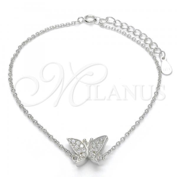 Sterling Silver 03.336.0019.07 Fancy Bracelet, Butterfly Design, with White Crystal, Polished Finish, Rhodium Tone