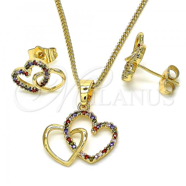 Gold Layered 10.316.0042 Earring and Pendant Adult Set, Heart Design, with Multicolor Cubic Zirconia, Polished Finish, Golden Tone