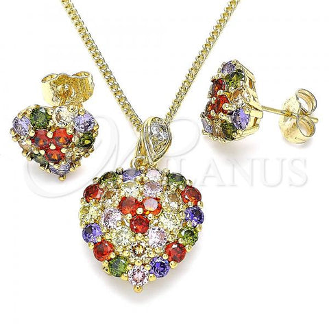 Gold Layered 10.346.0001.2 Earring and Pendant Adult Set, Heart Design, with Multicolor Cubic Zirconia, Polished Finish, Golden Tone