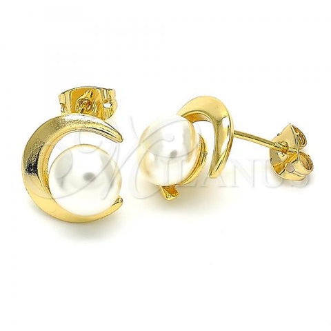 Gold Layered 02.342.0054 Stud Earring, Moon and Ball Design, with Ivory Pearl, Polished Finish, Golden Tone
