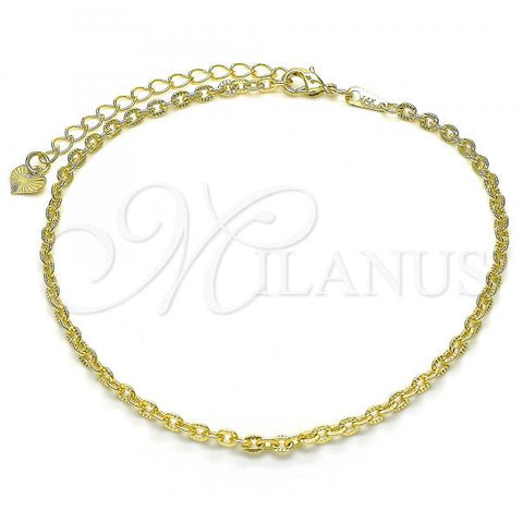Gold Layered 03.318.0011.10 Fancy Anklet, Polished Finish, Golden Tone