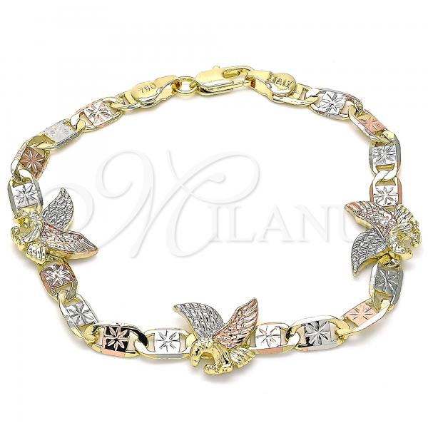 Gold Layered 03.380.0029.08 Fancy Bracelet, Eagle Design, Polished Finish, Tri Tone