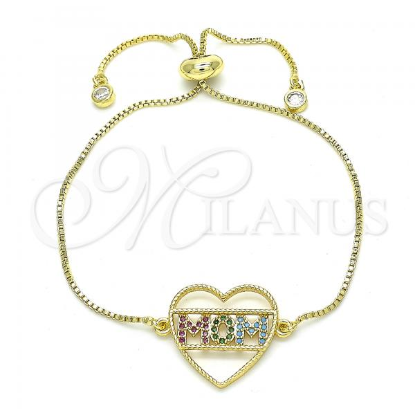 Gold Layered 03.368.0001.10 Fancy Bracelet, Heart and Mom Design, with Multicolor Cubic Zirconia, Polished Finish, Golden Tone