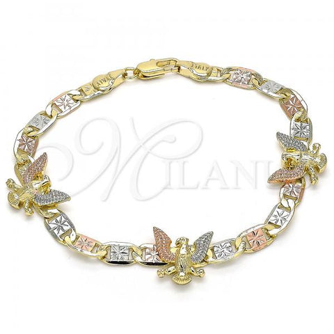 Gold Layered 03.380.0030.08 Fancy Bracelet, Eagle Design, Polished Finish, Tri Tone