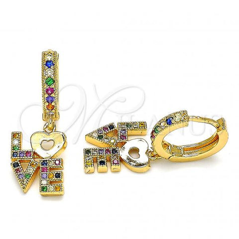 Gold Layered 02.377.0012.15 Huggie Hoop, Love and Heart Design, with Multicolor Micro Pave, Polished Finish, Golden Tone