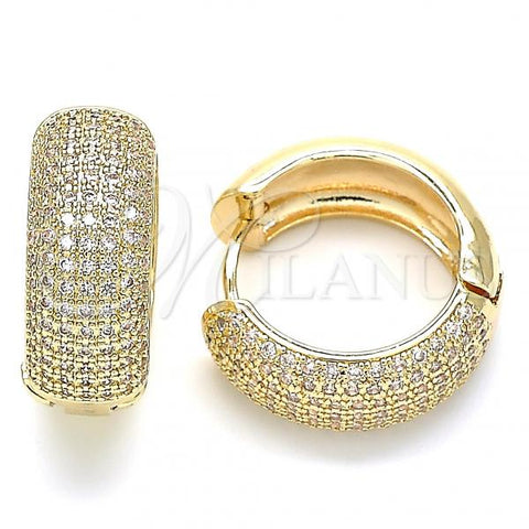 Gold Layered 02.195.0101.20 Huggie Hoop, with White Cubic Zirconia, Polished Finish, Golden Tone