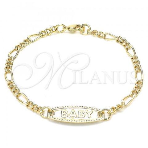 Gold Layered 03.63.2162.06 ID Bracelet, Figaro Design, Polished Finish, Golden Tone