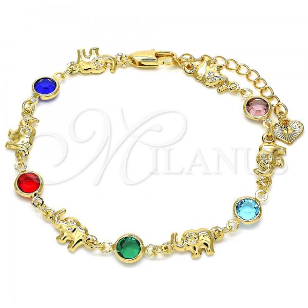 Gold Layered 03.351.0002.07 Fancy Bracelet, Elephant Design, with Multicolor Crystal, Polished Finish, Golden Tone