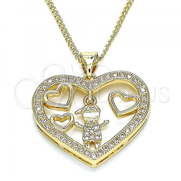 Gold Layered 04.156.0255.20 Pendant Necklace, Heart and Little Boy Design, with White Micro Pave, Polished Finish, Golden Tone