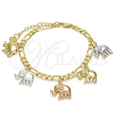 Gold Layered 03.351.0013.07 Charm Bracelet, Elephant Design, Polished Finish, Tri Tone