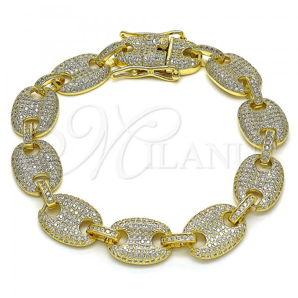 Gold Layered 04.373.0002.08 Fancy Bracelet, with White Micro Pave, Polished Finish, Golden Tone