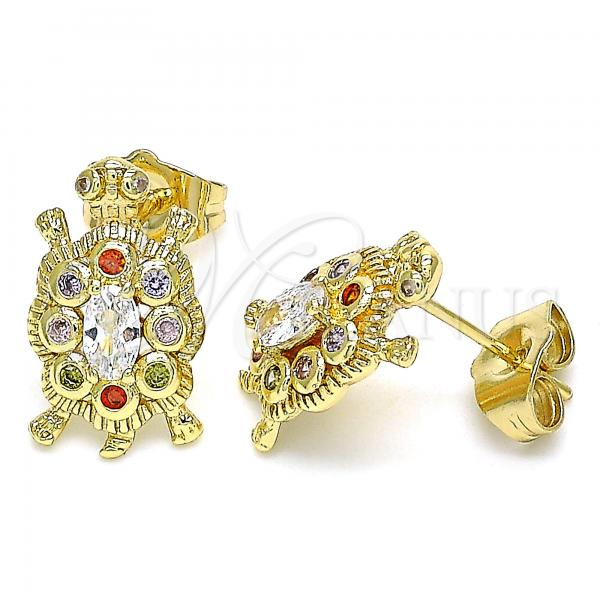 Gold Layered 02.210.0414.1 Stud Earring, Turtle Design, with Multicolor Micro Pave, Polished Finish, Golden Tone