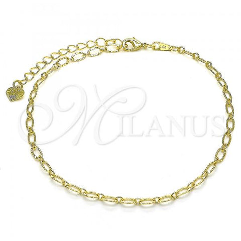 Gold Layered 03.318.0010.10 Fancy Anklet, Polished Finish, Golden Tone