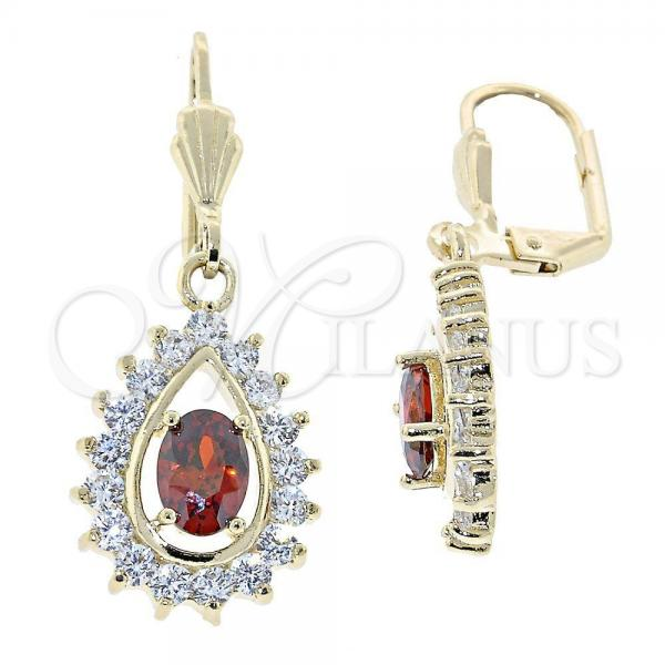 Gold Layered 5.028.020 Dangle Earring, Teardrop Design, with Orange Red and White Cubic Zirconia, Polished Finish, Golden Tone