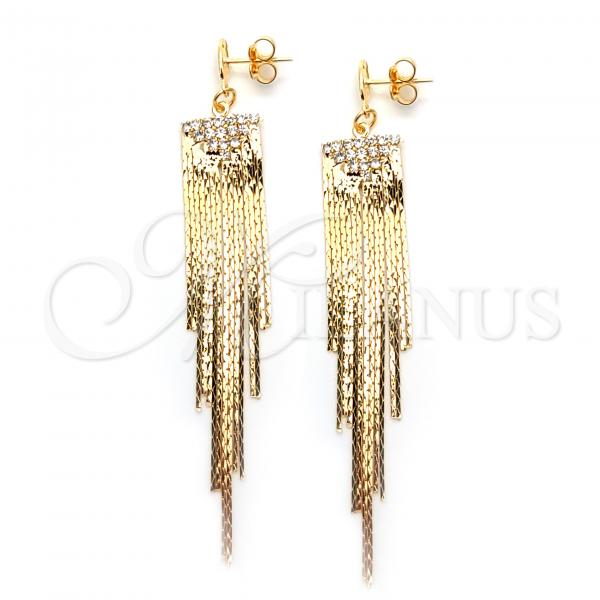 Gold Layered 02.58.0004 Long Earring, with White Cubic Zirconia, Polished Finish, Golden Tone