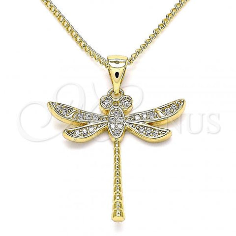 Gold Layered 04.342.0015.20 Pendant Necklace, Dragon-Fly Design, with White Micro Pave, Polished Finish, Golden Tone