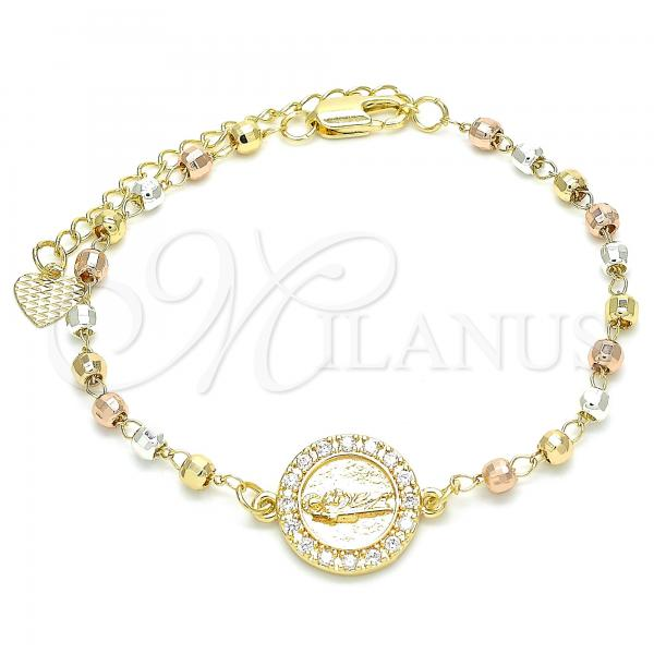Gold Layered 03.253.0038.07 Fancy Bracelet, San Judas Design, with White Cubic Zirconia, Diamond Cutting Finish, Tri Tone