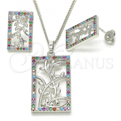 Rhodium Plated 10.233.0039.4 Earring and Pendant Adult Set, Leaf Design, with Multicolor Cubic Zirconia, Polished Finish, Rhodium Tone