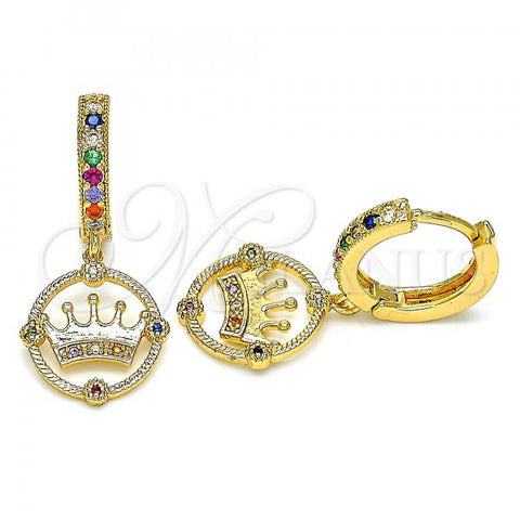 Gold Layered 02.377.0013.15 Huggie Hoop, Crown Design, with Multicolor Micro Pave, Polished Finish, Golden Tone