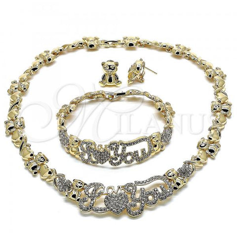 Gold Layered 06.372.0002 Necklace, Bracelet and Earring, Polished Finish, Golden Tone Hugs and Kisses and Teddy Bear Design, with White Crystal, Polished Finish, Golden Tone