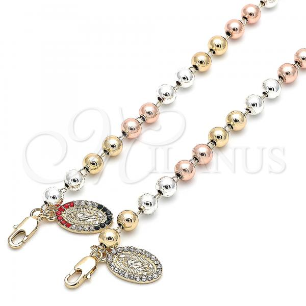 Gold Layered Bracelet Rosary, Guadalupe Design, with Crystal, Tri Tone
