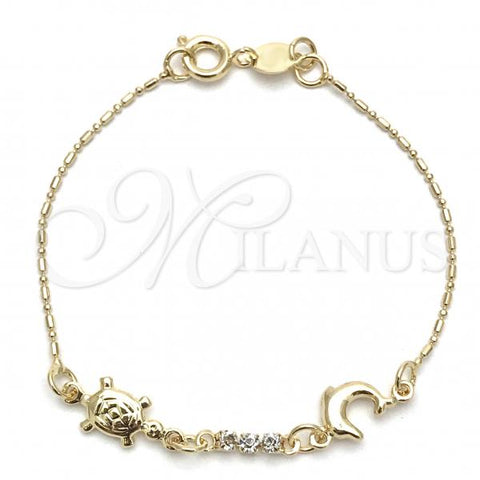Gold Layered 03.32.0309.06 Basic Bracelet, Dolphin and Turtle Design, with White Cubic Zirconia, Polished Finish, Golden Tone