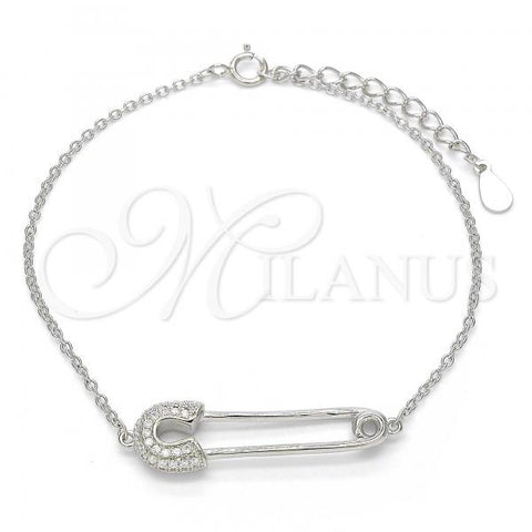 Sterling Silver 03.336.0015.07 Fancy Bracelet, with White Crystal, Polished Finish, Rhodium Tone