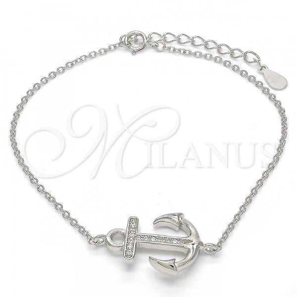 Sterling Silver 03.336.0027.07 Fancy Bracelet, Anchor Design, with White Micro Pave, Polished Finish, Rhodium Tone