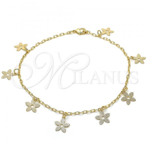 Gold Layered 04.63.1376.10 Charm Anklet , Flower Design, Polished Finish, Golden Tone