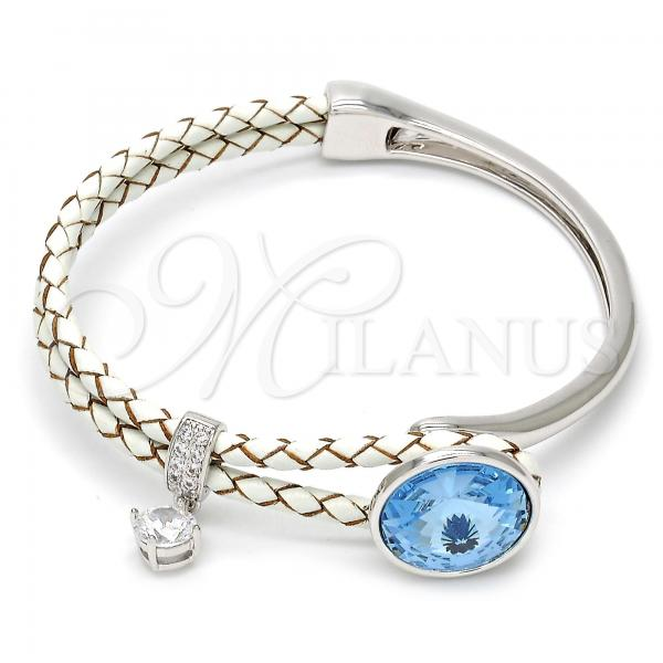 Rhodium Plated Individual Bangle, with Swarovski Crystals and Micro Pave, Rhodium Tone