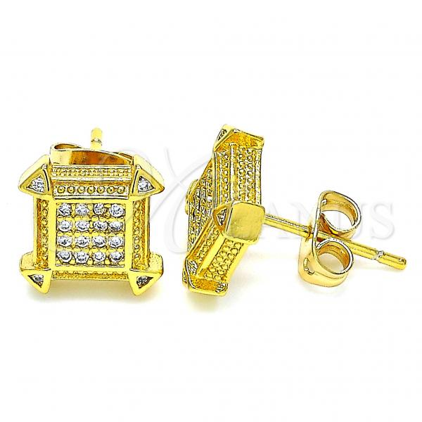 Gold Layered 02.342.0035 Stud Earring, with White Micro Pave, Polished Finish, Golden Tone