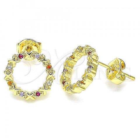 Gold Layered 02.156.0475.3 Stud Earring, with Multicolor Micro Pave, Polished Finish, Golden Tone