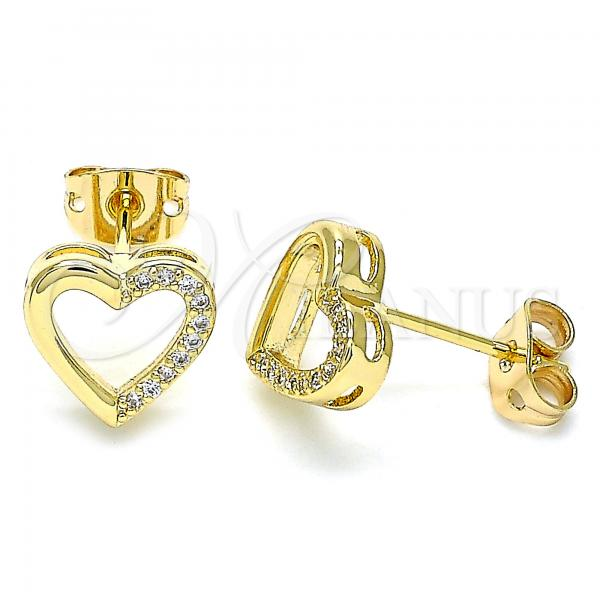 Gold Layered 02.342.0101 Stud Earring, Heart Design, with White Micro Pave, Polished Finish, Golden Tone