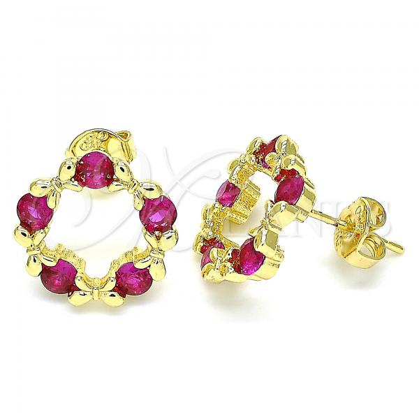 Gold Layered 02.156.0465.1 Stud Earring, Bow Design, with Ruby Micro Pave, Polished Finish, Golden Tone