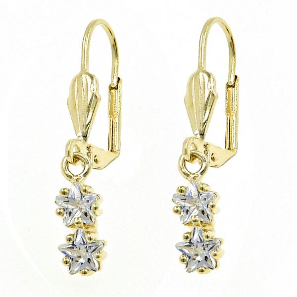 Gold Layered Dangle Earring, Star Design, with Cubic Zirconia, Golden Tone