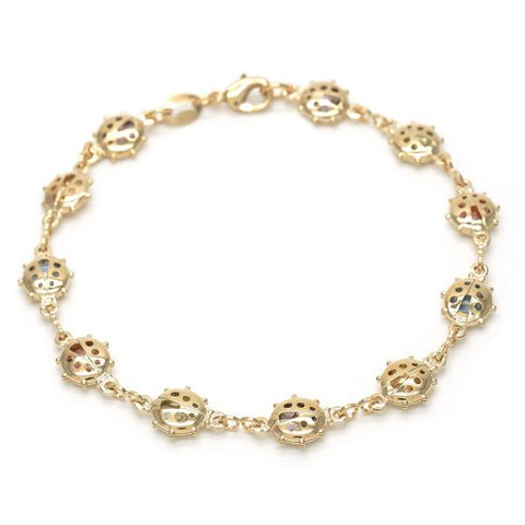 Gold Layered 03.32.0119.10 Fancy Anklet, Ladybug Design, Multicolor Resin Finish, Golden Tone