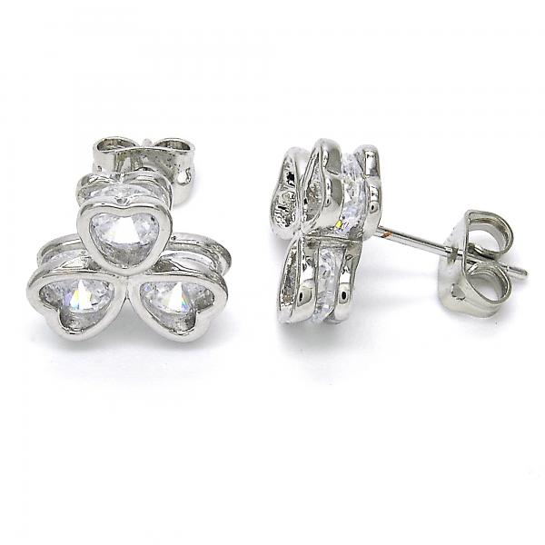 Rhodium Plated 02.213.0082 Stud Earring, Flower and Heart Design, with White Cubic Zirconia, Polished Finish, Rhodium Tone